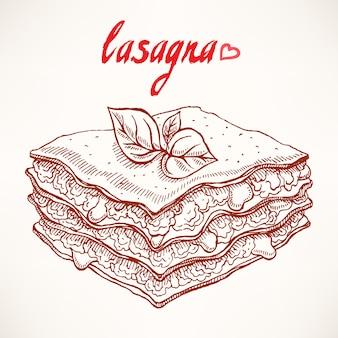 Schizzo con appetitoso pezzo di lasagna con foglie di manzo e basilico