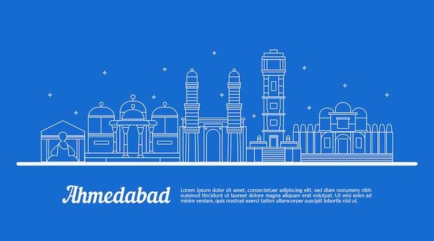 Schizzo con skyline lineare di ahmedabad