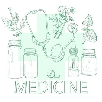 Schizzo d'annata degli elementi disegnati a mano della medicina di erbe
