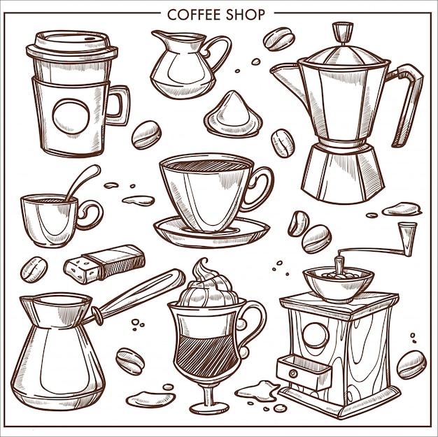 Schizzo degli strumenti dell'attrezzatura della caffetteria