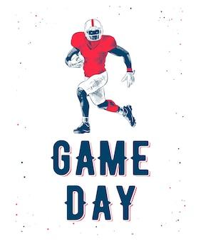 Schizzo del giocatore di football americano con tipografia