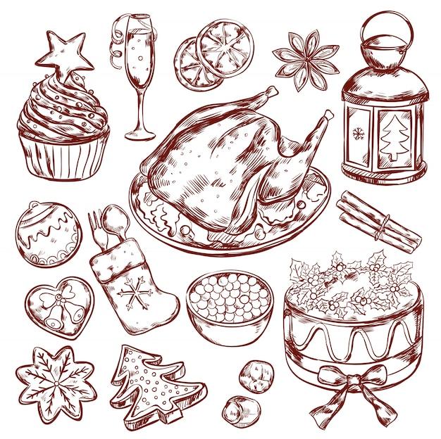 Schizzo del menu del cibo di natale