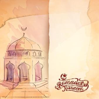 Schizzo dell'acquerello di vettore moschea islamica