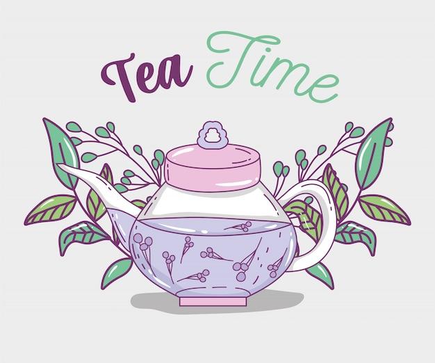 Schizzo dell'ora del tè piatto
