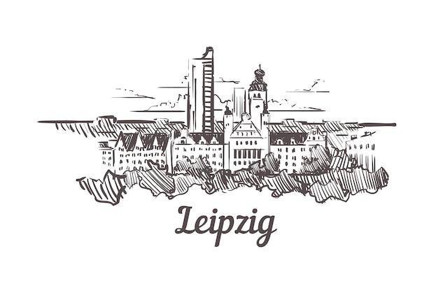 Schizzo dell'orizzonte di lipsia, germania