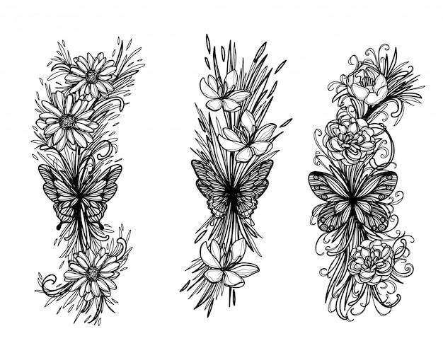 Schizzo della farfalla di arte del tatuaggio in bianco e nero