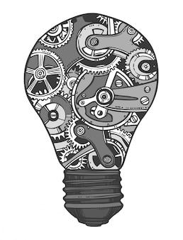 Schizzo della lampadina di ingranaggi