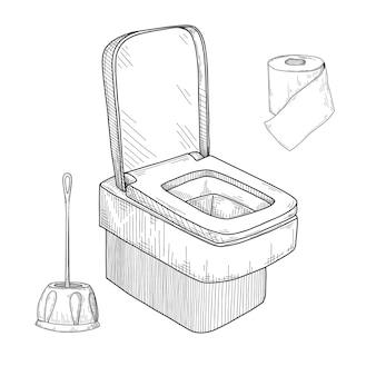 Schizzo della tazza del water e altri articoli da toeletta isolati.