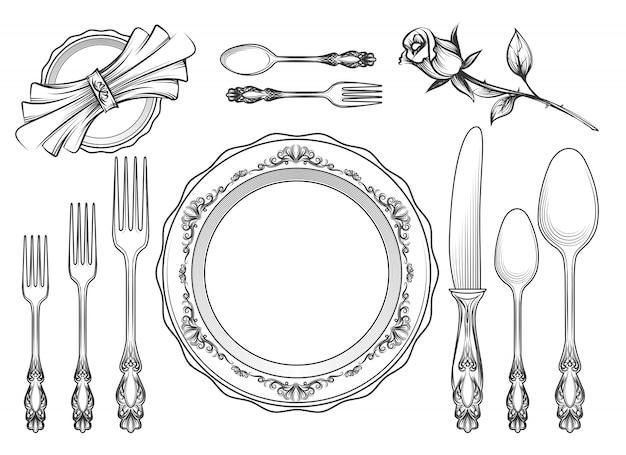 Schizzo di attrezzature di servizio di ristorazione vintage