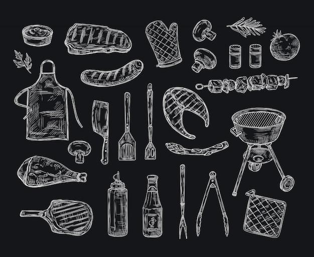 Schizzo di barbecue. bbq barbecue alla griglia carne di manzo kebab pollo griglia verdure fritte bistecca picnic picnic disegno vintage doodle
