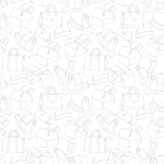 Schizzo di borse alla moda della donna senza cuciture
