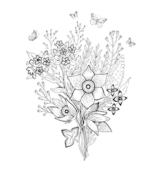 Schizzo di bouquet di fiori di primavera.