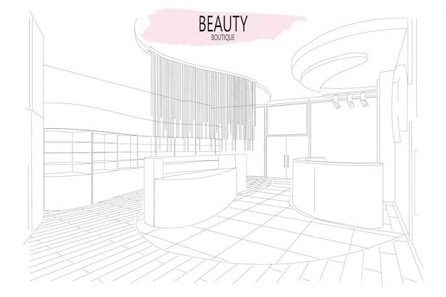 Schizzo di contorno interni boutique di bellezza con un design moderno