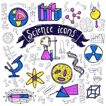 Schizzo di doodle di icone di simboli di scienza