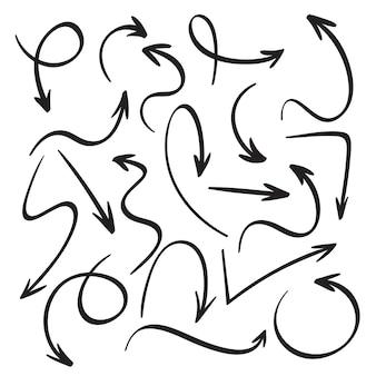 Schizzo di frecce nere. set di icone