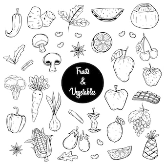 Schizzo di frutta e verdura o illustrazione disegnata a mano di stile