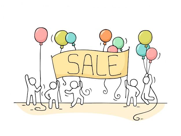 Schizzo di lavorare piccole persone con banner di vendita
