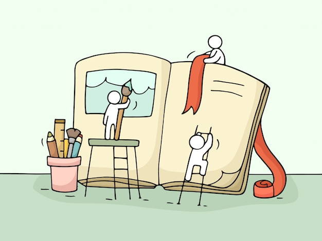 Schizzo di lavorare piccole persone con il libro.