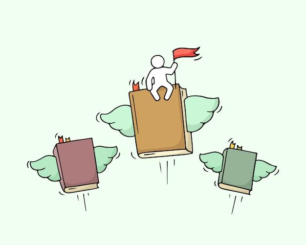 Schizzo di libri volanti con piccolo lavoratore.