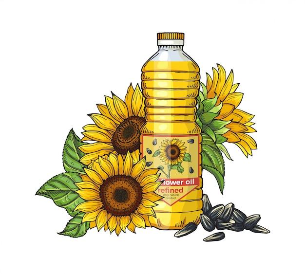 Schizzo di olio di girasole semi, girasoli e bottiglia di olio su sfondo bianco