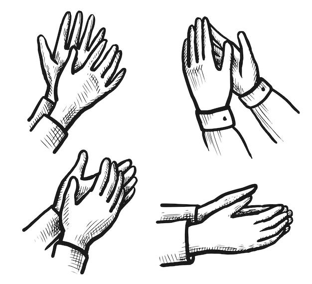 Schizzo di ovazione. applausi disegnati a mano che applaudono