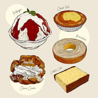 Schizzo di tiraggio del dessert giapponese disponibile