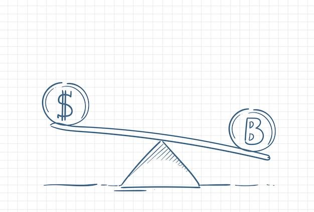 Schizzo di un equilibrio tra denaro e criptovaluta
