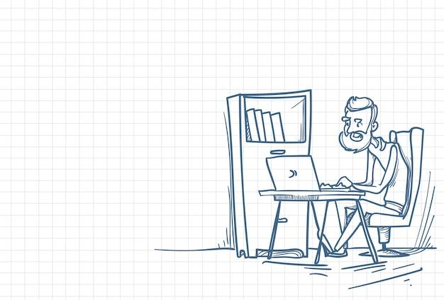 Schizzo di un lavoratore in ufficio
