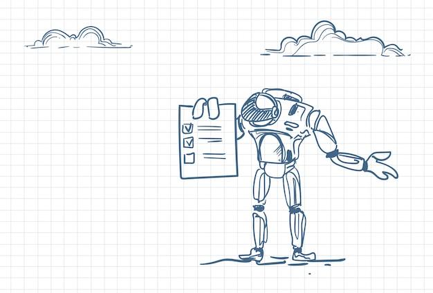 Schizzo di un robot in possesso di un elenco di controllo