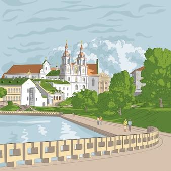 Schizzo di una città vecchia, paesaggio urbano con chiesa e fiume