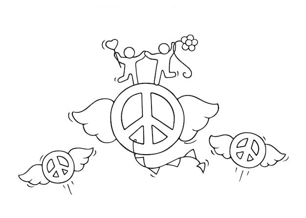Schizzo di volare segni di pace con simpatiche piccole persone.