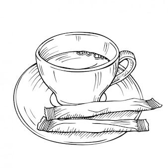 Schizzo disegnato a mano con una tazza di tè isolata su un bianco. una tazza di caffè con due bastoncini di zucchero