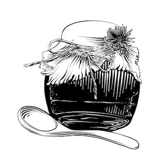 Schizzo disegnato a mano del barattolo di miele con un cucchiaio di legno