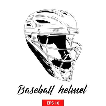 Schizzo disegnato a mano del casco da baseball in nero