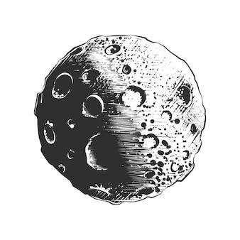 Schizzo disegnato a mano del pianeta luna in bianco e nero