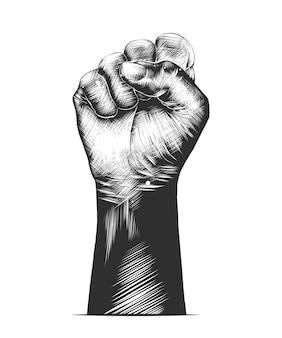 Schizzo disegnato a mano del pugno umano in bianco e nero