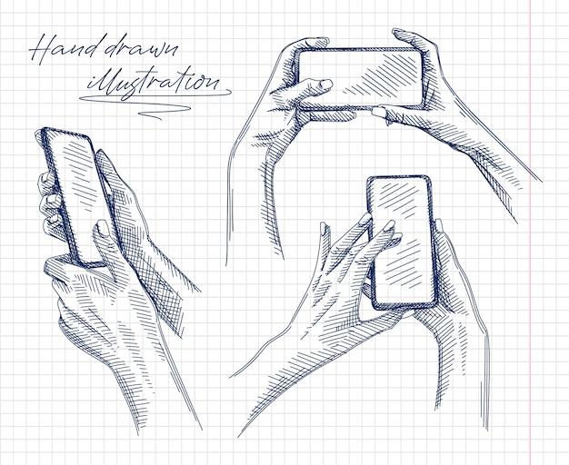 Schizzo disegnato a mano del set di gesti di smartphone. il set include mani che fanno un selfie o semplicemente fanno una foto, mani che sbloccano il telefono, mani che fanno zoomare l'immagine nel telefono.