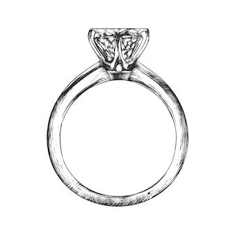 Schizzo disegnato a mano dell'anello di fidanzamento in bianco e nero