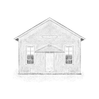 Schizzo disegnato a mano dell'illustrazione cottage.