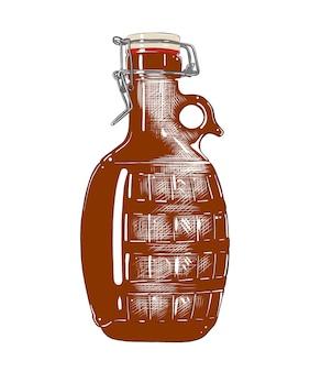 Schizzo disegnato a mano della bottiglia di birra