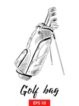 Schizzo disegnato a mano della sacca da golf in nero