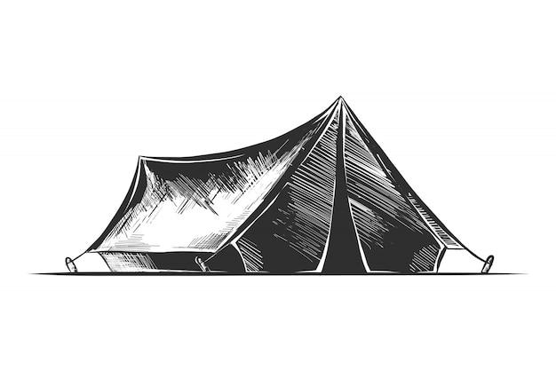 Schizzo disegnato a mano della tenda da campeggio in bianco e nero