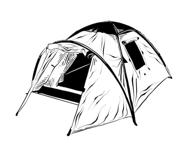 Schizzo disegnato a mano della tenda da campeggio in nero