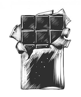 Schizzo disegnato a mano di barretta di cioccolato in bianco e nero