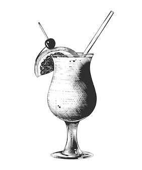 Schizzo disegnato a mano di cocktail estivo, monocromatico