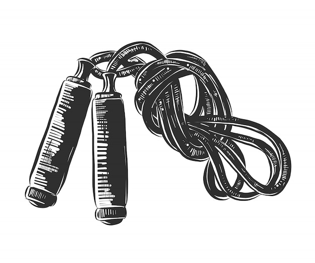 Schizzo disegnato a mano di corda per saltare in bianco e nero