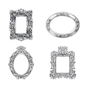 Schizzo disegnato a mano di cornici impostato per specchi. cornici decorative con motivi. specchi rotondi, quadrati ed ellittici. cornici antiche a specchio