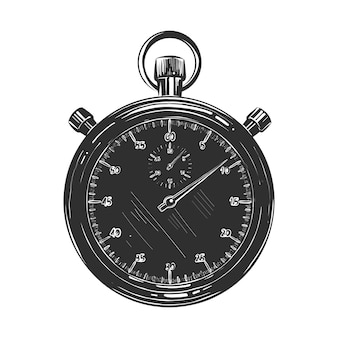 Schizzo disegnato a mano di cronometro in bianco e nero