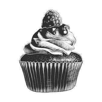Schizzo disegnato a mano di cupcake in bianco e nero