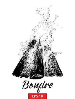 Schizzo disegnato a mano di fuoco di accampamento nel nero